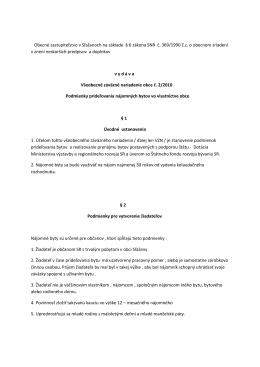 VZN obce č. 2/2010 Podmienky prideľovania nájomných