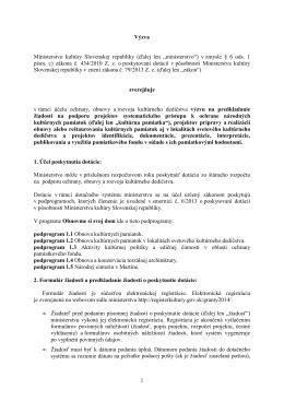 Výzva na predkladanie žiadostí - Ministerstvo kultúry SR