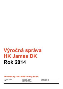 Výročná správa HK James DK Rok 2014