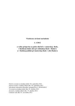 Všeobecne záväzné nariadenie č. 1/2012 o výške