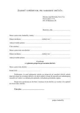 Žiadosť o príspevok pri narodení dieťaťa