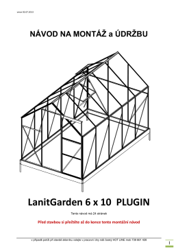 NÁVOD NA MONTÁŽ a ÚDRŽBU LanitGarden 6 x 10 PLUGIN