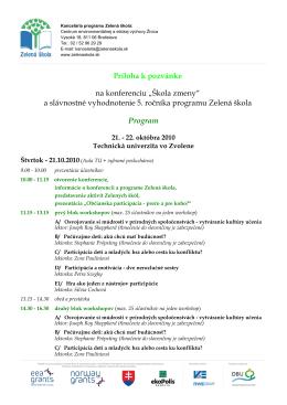 Podrobný program, informácie o workshopoch