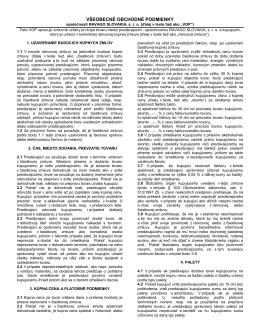 Všeobecno Obchodné Podmienky spoločnosti RAVAGO SLOVAKIA