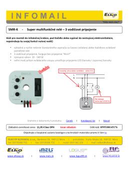 SMR-K - Super multifunkčné relé 3 vodičové pripojenie