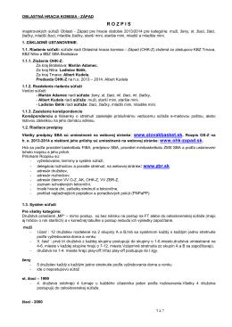 R O Z P I S - Oblastná hracia komisia Západ
