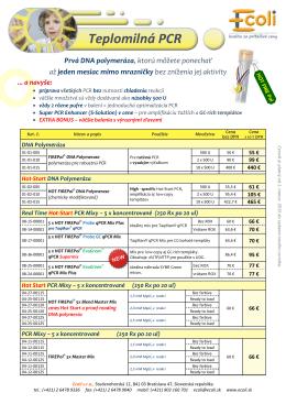 Kompletné ceny Solis produktov (PCR a Real Time)