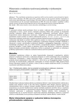 Plánovanie a realizácia vyučovacej jednotky s výskumným dizajnom