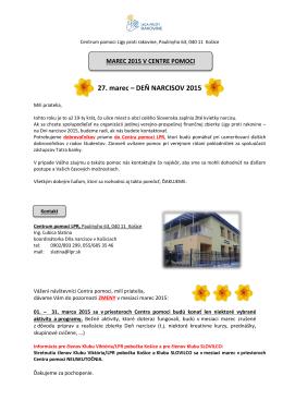 27. marec – DEŇ NARCISOV 2015