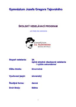 Školský vzdelávací program pre všeobecné triedy