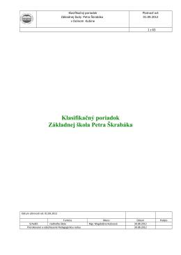 Klasifikačný poriadok Základnej škola Petra Škrabáka