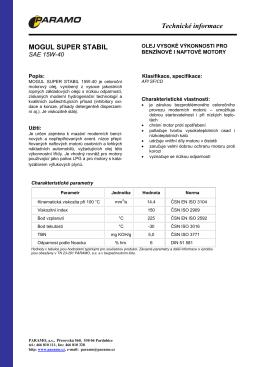 Technická informace - MOGUL SUPER STABIL 15W-40