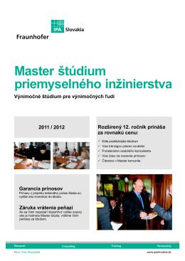 Master štúdium priemyselného inžinierstva
