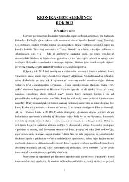 KRONIKA OBCE ALEKŠINCE ROK 2013