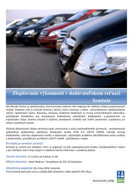 Automobilový seminár Zlepšovanie výkonnosti v dodávateľskom