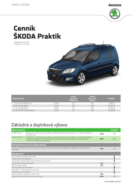 Cenník - ŠKODA