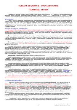 dôležité informácie – prevádzkovanie technickej služby