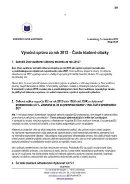 Výročná správa za rok 2012 – Často kladené otázky