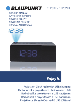 Projection Clock radio with USB charging Radiobudzik z