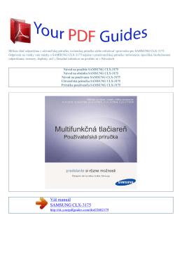 Návod na používanie SAMSUNG CLX-3175