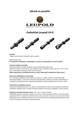 Návod na použitie Puškohľad Leupold VX-R