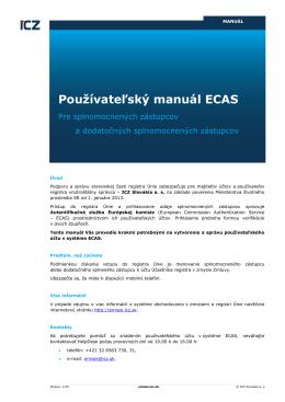 Používateľský manuál ECAS