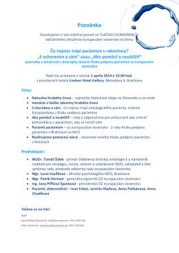 Pozvánka - Europacolon