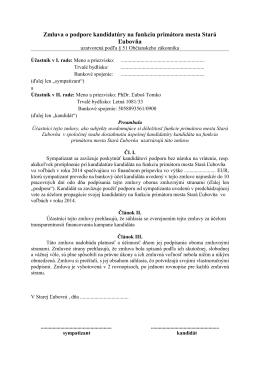 Zmluva o podpore kandidatúry na funkciu primátora