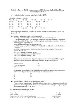Kritériá výberu Erasmus 2013-14