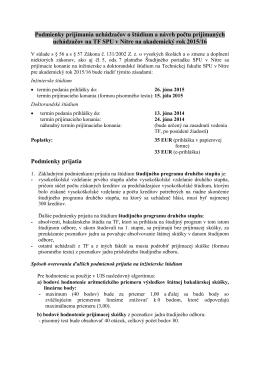 Podmienky prijatia pre 2. a 3.stupeň štúdia