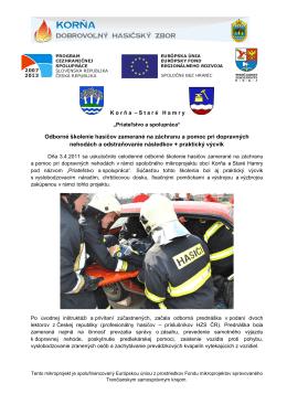 Odborné školenie hasičov zamerané na záchranu a pomoc