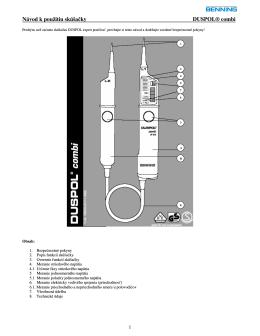 Návod k použitiu skúšačky DUSPOL® combi