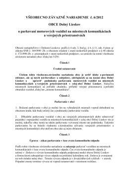 VZN č. 6/2012 o parkovaní motorových vozidiel na