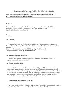 Zápisnica zo 6 riadneho zasadnutia OZ obce