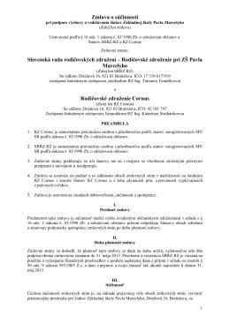 Zmluva o súčinnosti - ZŠ Pavla Marcelyho, Drieňová 16, Bratislava