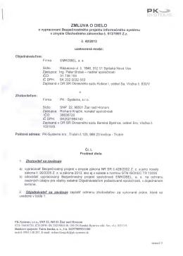 ZMLUVA O DIELO - EMKOBEL, a. s.