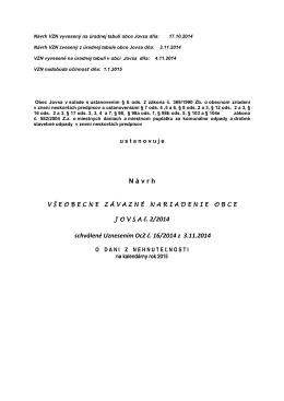 VZN č. 2/2014 DAŇ Z NEHNUTEĽNOSTI