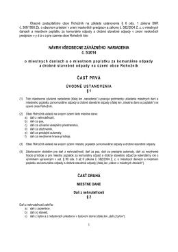 Návrh VZN vyvesený na úradnej tabuli v obci