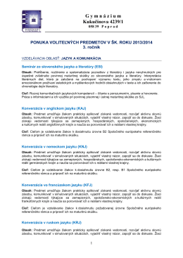3. ročník - Gymnázium, Kukučínova 4239/1, Poprad