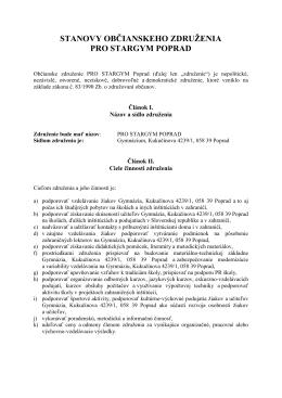 Stanovy občianskeho združenia - Gymnázium, Kukučínova 4239/1