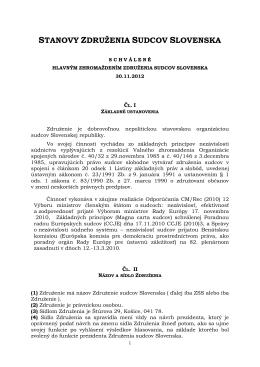 STANOVY ZDRUŽENIA SUDCOV SLOVENSKA