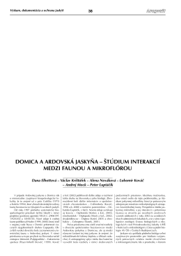 DOMICA A ARDOVSKÁ JASKYŇA – ŠTÚDIUM INTERAKCIÍ MEDZI