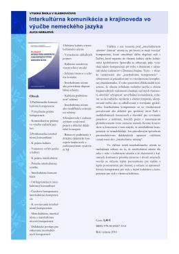 Interkultúrna komunikácia a krajinoveda vo výučbe nemeckého jazyka