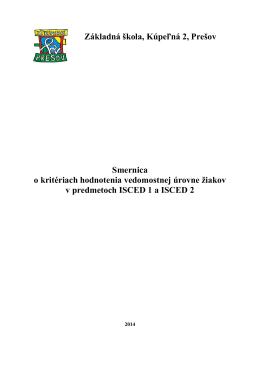 Smernica o kritériach hodnotenia vedomostnej úrovne žiakov v