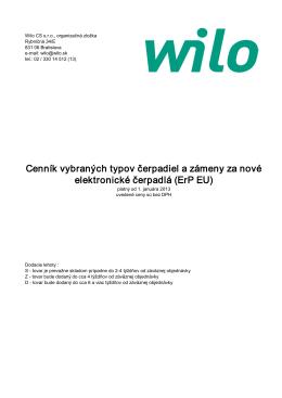 Cenník Wilo