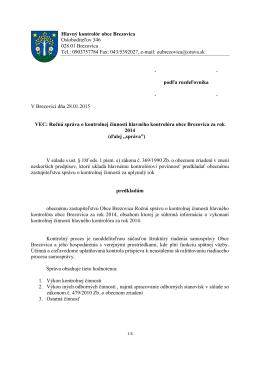 Ročná správa o kontrolnej činnosti za rok 2014