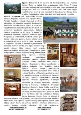 Bulletin - penzión klopačka, špania dolina