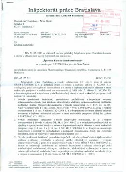 Inšpektorát práce Br - Asociácia skateboardingu Slovenskej republiky