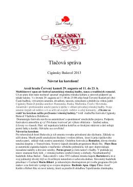 Tlačová správa - Cigánsky Bašavel