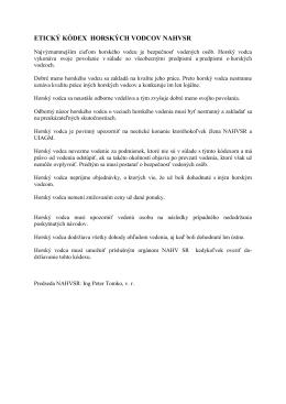 Eticky kodex hor.vodcov NAHVSR